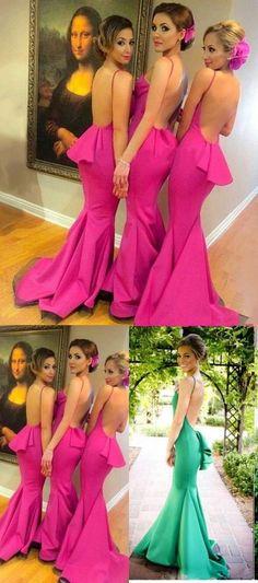 Mermaid Prom Dresses Long, 2018 Formal Dresses Pink, Scoop Neck Silk-like Satin Evening Party Dresses Ruffles Modest