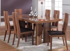 wooden dining room table and chairs queen cherry wood dining table dining room white wooden dining r Wooden Dining Table Designs, Dinning Table Design, Wood Table Design, Wooden Dining Tables, Wooden Chairs, Kitchen Tables, Teak Table, Modern Dining Table, Outdoor Dining