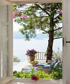 Lake House ~ Summer ~ Terrace ~ View Through An Open Window. Window View, Open Window, Outdoor Spaces, Outdoor Living, Beautiful Homes, Beautiful Places, Through The Window, Lake View, Coastal Living