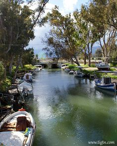Fishing boats moored along the banks of the river discharging into the Gulf in - Holiday Accommodation, Fishing Boats, Homeland, Banks, Greece, River, Explore, Vacation, Landscape