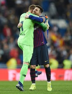Goalkeeper Marc-Andre ter Stegen of FC Barcelona hugs Lionel Messi after the Copa del Rey Semi Final second leg match between Real Madrid and FC Barcelona at Bernabeu on February 2019 in Madrid,. Barcelona Football, Barcelona Soccer, Fc Barcelona, Germany Football Team, Low Fade Haircut, Marc Andre, Best Player, Goalkeeper, Dream Team