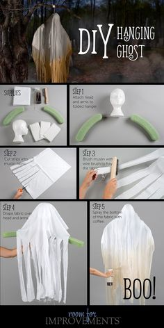 Halloween Craft: DIY Hanging Ghost Find out how to make a . Halloween Craft: DIY Hanging Ghost Find out how to make a DIY hanging ghost for Hallowe Entree Halloween, Diy Halloween Party, Halloween Outside, Halloween Decorations For Kids, Halloween Tags, Halloween Haunted Houses, Halloween Snacks, Holidays Halloween, Halloween Crafts