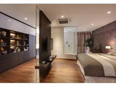 Best 12 Interesting partition design to walk-in wardrobe. But whats more interesting is the glass panel at the far end looking into the bathroom. Bedroom Closet Design, Home Room Design, Modern Bedroom Design, Closet Designs, Master Bedroom Design, Home Decor Bedroom, Home Interior Design, House Design, Modern Interior
