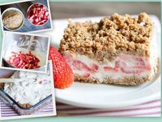 Strawberry Crunch Cake - So easy!  Mix, Layer, Cover, and Freeze.  Then Enjoy!