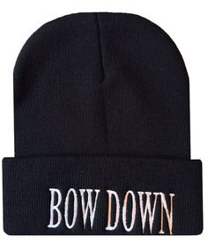 Hey, I found this really awesome Etsy listing at https://www.etsy.com/listing/181597712/bow-down-cuffed-beanie-cap-hip-hop-hat