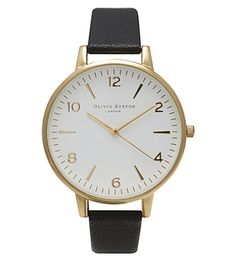 OLIVIA BURTON OB13WF01 Large White Dial gold-plated and leather watch (Gold