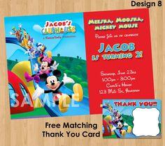 Mickeyho klubík Pozvánka a Thank You Poznámka - tisk Birthday Party Personalizované Card vyzývá - Klubovna Minnie Daisy Donald Duck