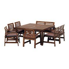 ÄPPLARÖ Table,6 armchairs+bench, outdoor - Äpplarö brown stained/Ekerön black - IKEA
