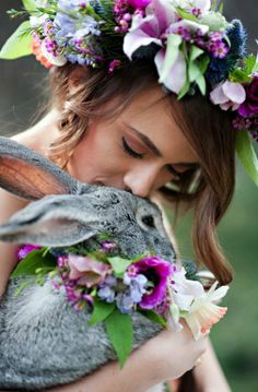 Springtime Easter Inspiration. Kristina Curtis Photography beautifully captured and orchestrated this shoot. Models: Mackenzi Maynes and a beautiful grey bunny named Hiccups.