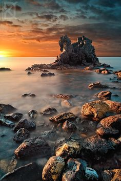 Golden Light, Coast of France. Does anyone else think the island looks like a dragon? Nature Pictures, Cool Pictures, Beautiful Pictures, Places Around The World, Around The Worlds, Beautiful World, Beautiful Places, Landscape Photography, Nature Photography
