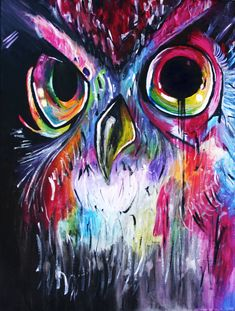 Rainbow Owl Painting