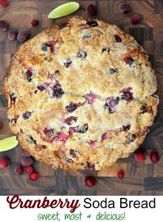 Cranberry Soda Bread is festive sweet and moist. Almist cake-like. Makes a pretty good gift breakfast or brunch offering. Cranberry Bread, Cranberry Recipes, Delicious Desserts, Dessert Recipes, Muffins, Irish Recipes, Irish Desserts, Happy Foods, Sodas