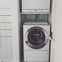 My Shelf/Panasonic/犬のいる暮らし/カリフォルニアスタイル/アメリカンハウス/ビーチハウス...などのインテリア実例 - 2016-02-23 17:07:06 Stacked Washer Dryer, Washer And Dryer, Washroom, Laundry Room, Home Appliances, Ideas, House Appliances, Washing And Drying Machine