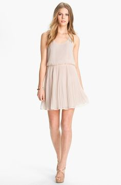 Lush Mesh Back Pleated Chiffon Dress (Juniors) available at #Nordstrom