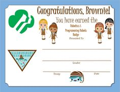 Brownie Girl Scout Way Badge Certificate Brownie Pet Badge, Girl Scout Brownie Badges, Brownie Girl Scouts, Girl Scout Leader, Girl Scout Troop, Scout Mom, Girl Scout Patches, Girl Scout Activities, Girl Scout Juniors