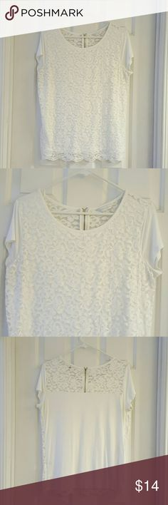 NY&CO White Lace Overlay Top NY&CO White Lace Overlay Top. Back half zip. Excellent condition. Length from shoulder to hem is approx 26 inches. New York & Company Tops Blouses