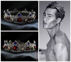 SilverMale Crown Runway King Man Crown Renaissance Crown, Medieval Crown, tudor #Handmade #HatsHeadwear