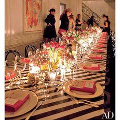 Kelly Wearstler's eclectic dinner table setting.