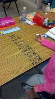 morning exercise, having students review on desk, simple math facts, writing name, writing numbers, etc.