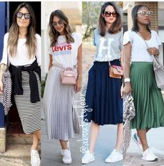Midi skirts & tees pleese Source by anjalages skirt outfit casual Mode Outfits, Chic Outfits, Spring Outfits, Fashion Outfits, Long Skirt Outfits, Midi Skirt Outfit Casual, Pleated Skirt Outfit, Skirt And Sneakers, Midi Skirts