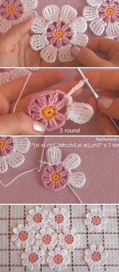 Learn Making Lace Crochet Flower Easily These lace crochet flowers are creative for so many projects. Crocheting flowers is enjoyable and it makes the perfect embellishment for accessories! Crochet Simple, Crochet Diy, Crochet Flower Tutorial, Crochet Amigurumi, Learn To Crochet, Crochet Motif, Crochet Designs, Crochet Crafts, Crochet Stitches