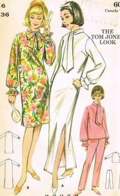 Vintage Fashion Vintage Butterick Sewing Pattern 3257 Uncut Misses Tom Jones Nightgown Robes Vintage, Vintage Dresses 1960s, Vintage Outfits, Vintage Girls, Vintage Shoes, Vintage Clothing, Vintage Items, Fashion Sewing, Retro Fashion