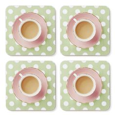 Teacup Coasters - drinks coaster tea coaster tea lover DELIGHTFULLY DOTTY GREEN £15.00
