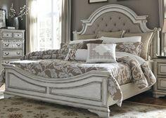 Superieur Magnolia Manor Antique White Upholstered Panel Bedroom Set. Feminine ...