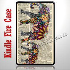 Elephant art  newspaper Kindle Fire Case