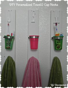 Individual towel rack and toothbrush holders. Kids bathroom?