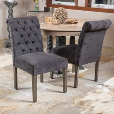 Dinah Roll Top Dark Grey Fabric Dining Chair (Set of 2) by Christopher Knight Home (Dinah Dark Grey Dining Chair (Set of 2)) (Linen)