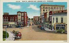 Johnson City Tennessee TN 1940 Town Main Street East Antique Vintage Postcard
