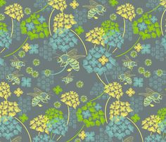 Flight of the honey bee fabric by cjldesigns on Spoonflower - custom fabric Kitchen Bee Fabric, Cool Fabric, Fabric Shop, Kitchen Fabric, Crafty Craft, Fabric Decor, Textile Art, Custom Fabric, Spoonflower