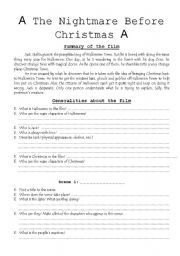English worksheet: The Nightmare Before Christmas