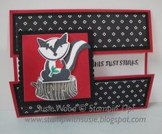 Stampin' Up!- He is so stinkin' cute!  It is a fun fold card using the new 'Foxy Friends' stamp set, coordinating punch & the words from 'Here for You' stamp set!