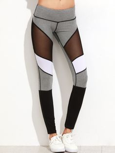 Online shopping for Color Block Mesh Insert Heather Knit Leggings from a great selection of women's fashion clothing & more at MakeMeChic.COM.