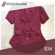Anthropologie Bordeaux Shirt Blouse Top Anthropologie Odille Bordeaux Shirt Top, 97% Cotton 3% Spandex, Size 14, excellent like New condition  Anthropologie Tops