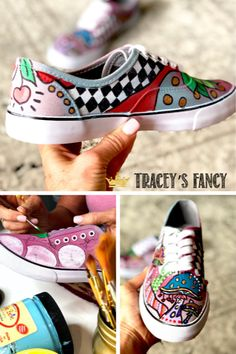 Oct 2019 - Looking for a way to breathe new life into an old tired pair of shoes? See these whimsical painted shoes by Tracey's Fancy for inspiration! Painted Canvas Shoes, Painted Jeans, Painted Clothes, Diy Home Decor On A Budget, Easy Home Decor, Painted Curtains, Dixie Belle Paint, Diy Painting, Drop Cloths