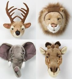 Plush taxidermy, they even have country, forrest and wild collections so you can. - Plush taxidermy, they even have country, forrest and wild collections so you can choose the perfect - Baby Boy Nursery Themes, Safari Nursery, Baby Boy Rooms, Baby Room Decor, Baby Boy Nurseries, Kids Rooms Decor, Themed Nursery, Animal Heads, Kids Bedroom