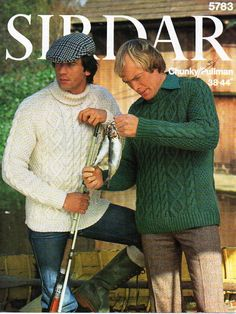 mens aran sweaters knitting pattern PDF mens aran jumpers polo neck crew neck Vintage 70s 38-44 inch chunky bulky 12 ply instant download by coutureknitcrochet on Etsy