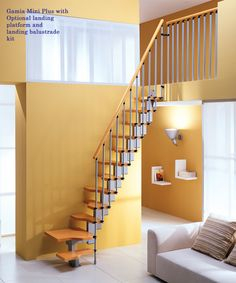 Mini Plus Space Saver Loft Staircase Light Beech