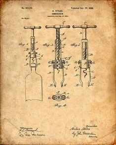 Imprimir patentes de un corcho de 1898 tornillo patente - lámina - cartel patente - vino - vino arte - cata de vinos - vino Decor - Bar - sacacorchos