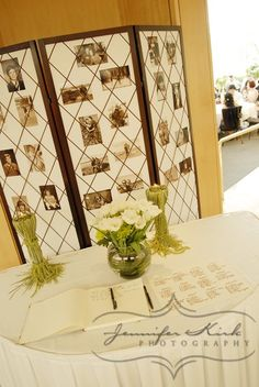 Green wedding guest book table