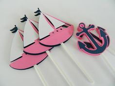 Pink Nautical Cupcake Toppers Cupcake Toppers by 2muchpaper, $11.00
