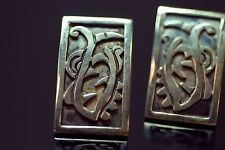 Taxco Signed Sterling Silver Vintage Earrings Antique Statement Rectangle Gift
