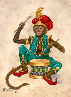 Monkey with Drum, an oil painting of a monkey clothed in blue pants and vest, red shoes and red turban with a feather, holding drumsticks and sitting behind a drum. The painting has a wide brown decorated border framing an off-white background. One of Janet Kruskamp's original paintings, by artist Janet Kruskamp