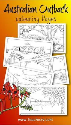 "Outback colouring pages. Includes Uluru, MacDonnell Ranges, flannel flowers, Sturt""s desert flower and more. Aboriginal Education, Aboriginal Culture, Aboriginal Art For Kids, Australia Crafts, Australia Day, Coast Australia, Australia Travel, Australian Animals, Australian Art"