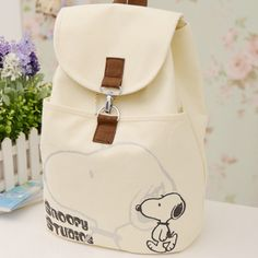 Canvas backpack student school bag canvas smile bag women's handbag fashion cute snoopy backpack for girl