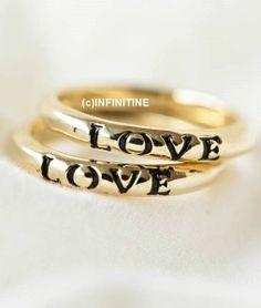 black love letter ring