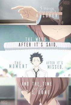Recently watched this movie, A Silent Voice, it had stunningly beautiful art and a story that made me cry at least three times. Recently watched this movie, A Silent Voice, it had stunningly beautiful art and a story that made me cry at least three times. Sad Anime Quotes, Manga Quotes, True Quotes, Deep Quotes, Naruto Quotes, Sarcasm Quotes, A Silent Voice Anime, Voice Quotes, Anime Merchandise